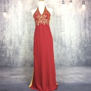 Handmade Red & Gold Halter Dress